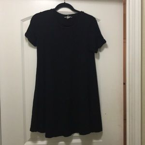 Black T-Shirt Dress with Cuffed Sleeves